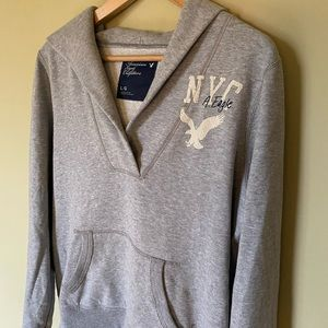 American Eagle Outfitters Grey Logo Hoodie